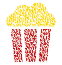 Popcorn bucket composition of dollar and dots vector
