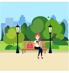 public urban park woman hold smartphone sitting vector image