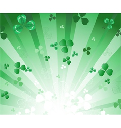 Radiant green background with clover vector