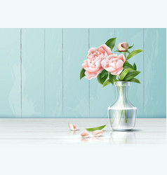 realistic pink rose flower leaves bouquet vector image