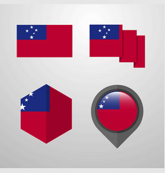 Samoa flag design set vector