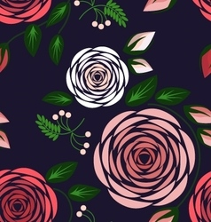 Seamless floral pattern with big delicate roses vector