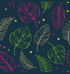 seamless floral pattern with tropical leaves with vector image