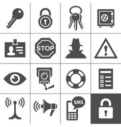Security and warning icons simplus series vector