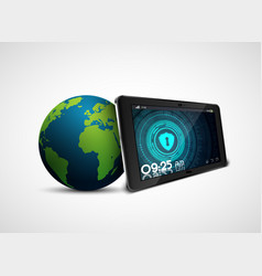 Security tablet pc with globe vector