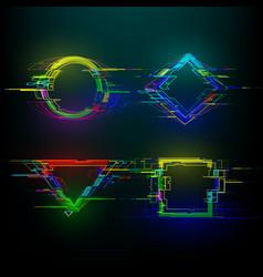 Set futuristic glitch geometry shapes in vector