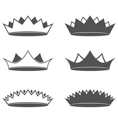 Set of six Crown Isolated vector