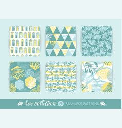Set of trendy sea seamless patterns with hand vector