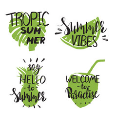 set summer templates with modern hand lettering vector image