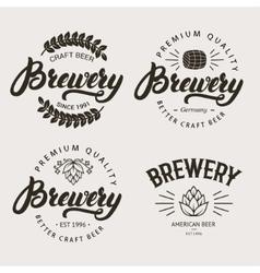 set vintage brewery badge label logo template vector image