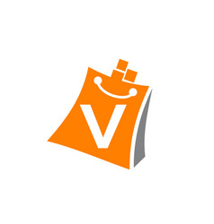 shopping online initial v vector image