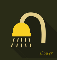 Shower head with water drops flowing isolated vector