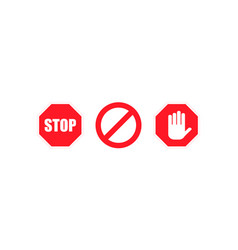 sign stop no red colored set sign icon stop icon vector image