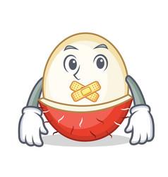 silent rambutan mascot cartoon style vector image