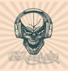 Skull in headphones hand drawing image vector