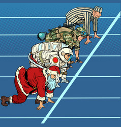 sports race with santa claus military astronaut vector image