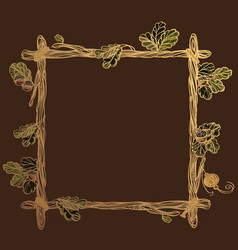 Square golden frame of oak branches with leaves vector