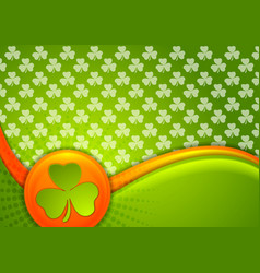 st patrick day waves background with irish flag vector image vector image