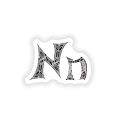 Sticker Low poly letter N in gray mosaic polygon vector