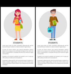 Students boy and girl cartoon style web posters vector