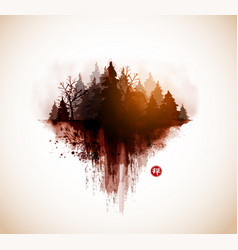 Stylized image forest hand drawn with ink vector