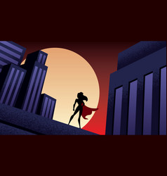 superheroine city night vector image