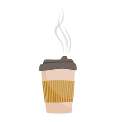 Takeaway cup of coffee with cover cozy vector