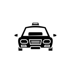 taxi black icon sign on isolated vector image