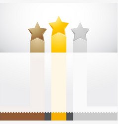 three stars with ribbons and label vector image
