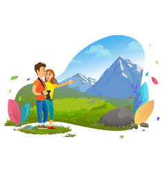Tourists cuople with photo camera mountain view vector