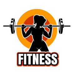 Training girl silhouette fitness emblem vector