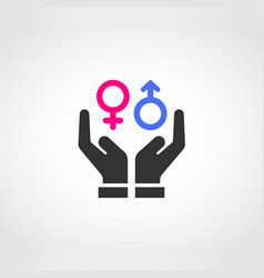 Two hands protecting gender equality vector