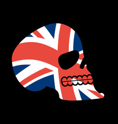 uk skull head of skeleton and british flag fan vector image