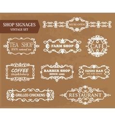 Vintage shop signages vector image