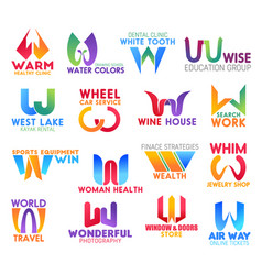 w letter corporate identity business icons vector image