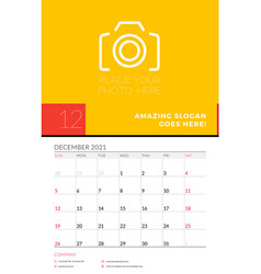 wall calendar planner template for december 2021 vector image