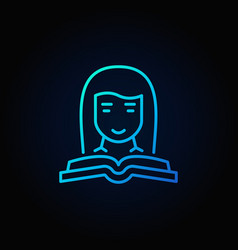 Woman with a book blue icon vector