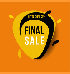 yellow final sale banner up to 70 off vector image