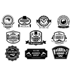 Black and white barber shop labels vector image vector image