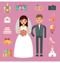 Bride and groom wedding couple vector image