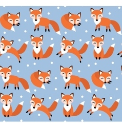 Cute fox seamless pattern Foxy endless background vector image