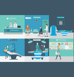 info graphic of medical services with doctors and vector image