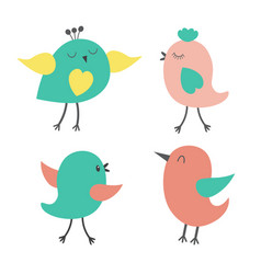Set of cute colorful birds vector