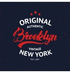 Vintage Brooklyn label Quality tee print vector image vector image