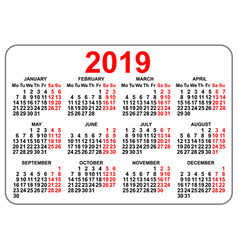 2019 compact grid pocket calendar first day monday vector image vector image