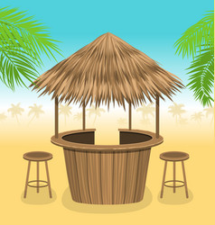 beach bar thatch outdoor background with lounge vector image vector image