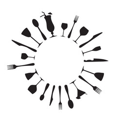 Cutlery and drinking glasses vector