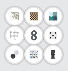 flat icon games set of guess xo chess table and vector image vector image