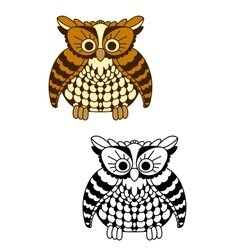 Fluffy owl bird with brown and yellow plumage vector image vector image