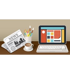 Laptop Newspaper Coffee Cup and Stationery Object vector image